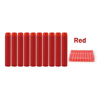10PCS Refill Bullets Dart For Nerf N-strike Elite Rampage Retaliator Series Blasters Refill Clip 7.2x1.3cm (Red) by SnapArt