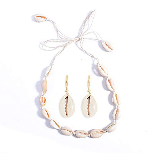 (Long tiantian Women Cowrie Shell Necklace Bracelet 2 Pcs Set Adjustable Leather Anklet Hawaii Beach Choker Jewelry for Girls (White 2 Set))