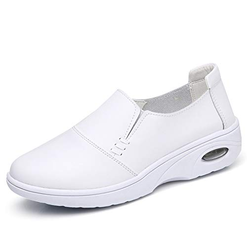 d1acfd612dd ZYEN Women s Comfortable Nursing Shoes All White Leather Nurses Slip On Work  Medical Loafers