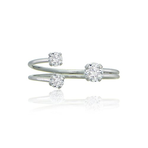 [Sterling Silver Cubic Zirconia Adjustable Open Band Ring] (Flower Child Costumes Ideas)