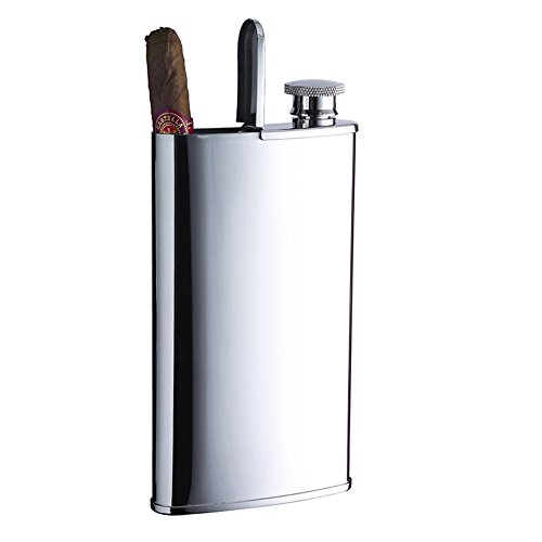 Savage 4oz Hip Flask and Cigar Case 18/8 Stainless Steel in Mirror Finishing by Savage