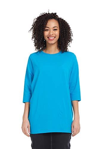 - Esteez Women's Tee - Loose Fitting T-Shirt -3/4 Sleeve Ocean Blue 2X