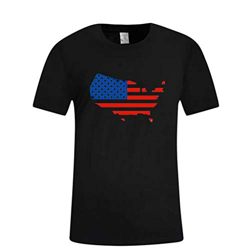 - Nuewofally Mens T-Shirts Short Sleeve Work Shirts America Flag Map Print Blouse Tee Summer Casual Tee Top Black