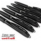 Uni-Ball Signo 307 - Fine Retractable Rollerball Pen - 6 Pack - Black - UMN-307