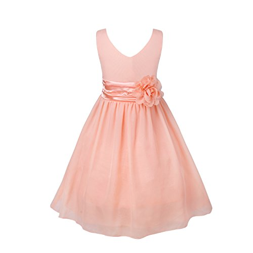 FEESHOW Kids Big Girls Chiffon Bridesmaid Wedding Pageant Graduation Party Flower Girl Dress with Sash Coral Pink 4 ()