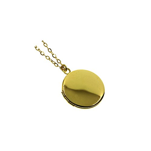 21MM Small Gold Round Photo Locket Pendant Charm Necklace 18+2''