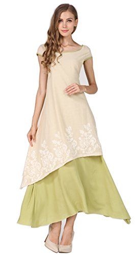 Youtobin Women's Summer Cotton Floral Folk Style Maxi Dress L light Green