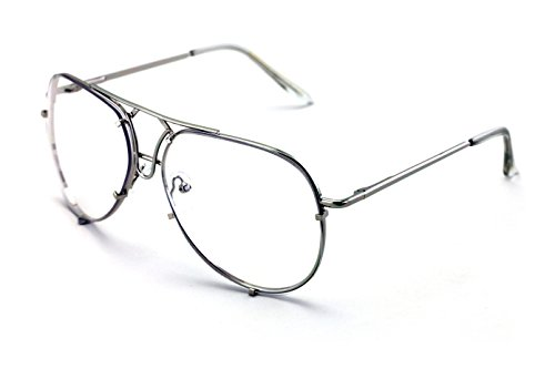 V.W.E. New Non-Prescription Premium Aviator Clear Lens Glasses Gold Silver Black - Lenses Clear Glasses