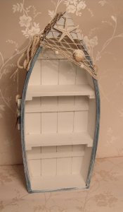 100cm Large Blue And White Nautical Boat Style Shelf