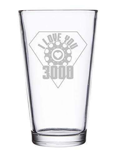 I Love You 3000 Metal Heart Reactor Film Parody - Laser Engraved Pint Glasses for Beer, 16 oz Stein