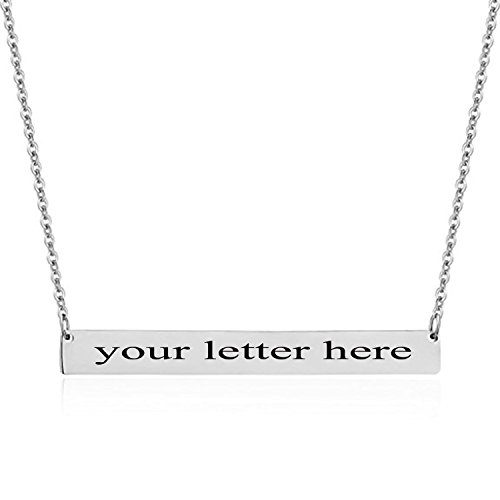 Custom Engraved Letter Name Bar Necklace – Stainless Steel Simple Personalized Thin Bar Pendant Choker Necklace for Women Girls