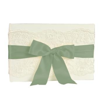 Chantilly Collection (Chantilly Lace Ivory Wedding Collection Custom Made Guest Book with Sage Green Satin Ribbon)