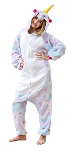 Comfy New Unicorn Onesies Animal Cosplay Costumes Unisex Adult One-Piece Outfit Halloween Xmas Pajamas Star Small -