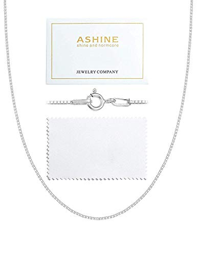 (ASHINE Sterling Silver Chain Necklace for Girl 1mm Box Chain Spring Ring Clasp 17 Inches)