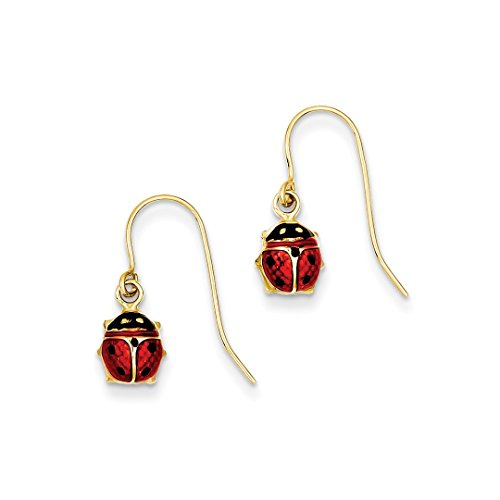 ICE CARATS 14kt Yellow Gold Enameled Ladybug Drop Dangle Chandelier Earrings Animal Insect Fine Jewelry Ideal Gifts For Women Gift Set From Heart (Ladybug Gold 14kt Earrings Jewelry)