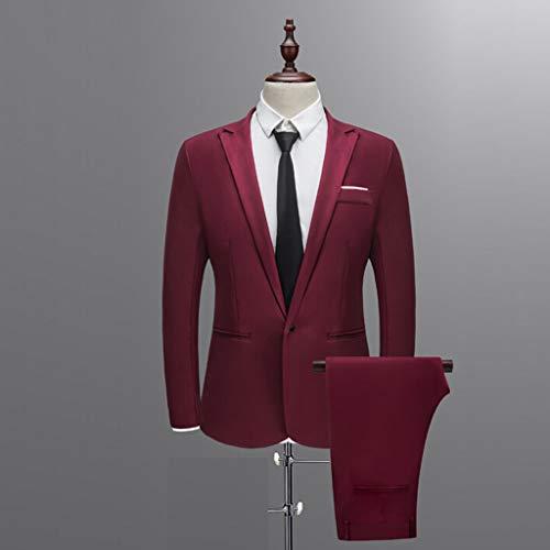 31E3Rx7LSoL. SS500  - Sunward Men Slim Button Suit Pure Color Dress Blazer Host Show Jacket Coat & Pant