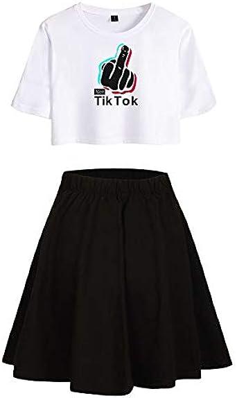 ISSAYEA TIK TOK Camiseta + Falda Corta 2 Piezas Crop Top y Dress para Niñas Mujeres Traje De Dos Piezas para Niñas Y Mujeres Ropa Deportiva: Amazon.es: Ropa y accesorios