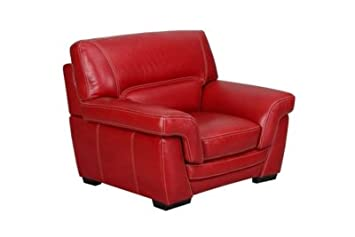 Fauteuil LUCIANO Buffle cro te cuir Rouge Amazon Cuisine & Maison