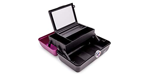 Caboodles Twilight Disco - On-the-go Girl Costmetic Organizer Make-up & Accessory Carry Case, Magenta Over Black, Magenta Lid and Black Base
