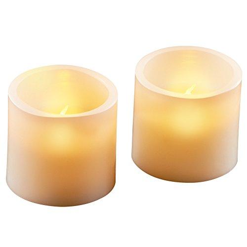 Collections Etc Led Flat Top Pillar Candles - Set Of 2, Beig