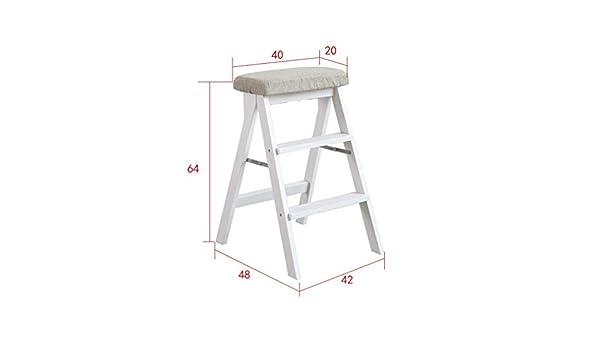 Taburete de la Escalera Escalera de la Escalera Taburete Plegable Portátil Escaleras de Escalada Silla de Madera Maciza Adecuada para la Cocina Casa Multifunción en el Hogar Escalera Retráctil , T-St: Amazon.es: