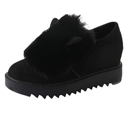 LandFox Comfortable, Winter Warm Snow Shoes,Women's Non-Slip Flat Platform Casual Single Shoes Black -