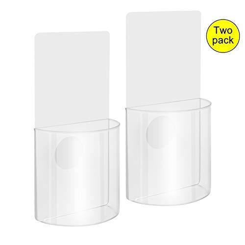 Woohot 2 Pack Set Damage-Free Acrylic Wall Mount Organizer Storage Box for Phone Remote Control Holder