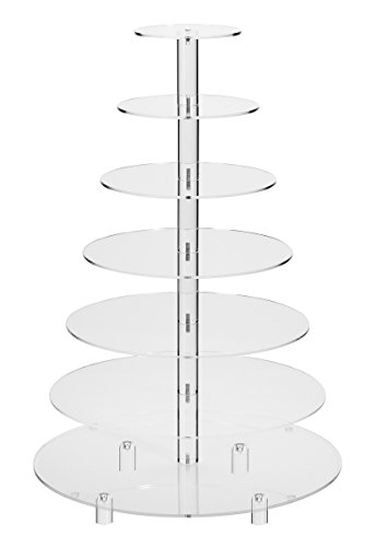 Jusalpha 7 Tier Round Acrylic Glass Cupcake Stand-cake stand-dessert stand, cupcake Tower 7RFs (7 Tier With Base)
