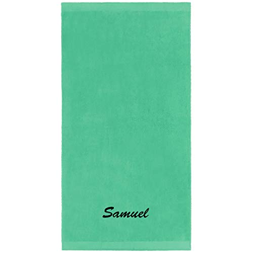 (Kaufman - Personalized Velour Beach and Pool Towel 100% Cotton 30in X 60in Embroidered (Mint))