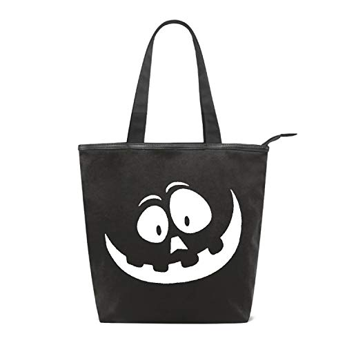 Shopping Bag Smiley Pumpkin Face Halloween Grocery Canvas Tote Bags