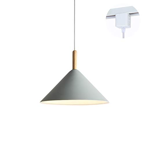 ANYE Grey Cone Shade Light Fixtures H-Type Track Light Pendants 1.6ft Cord Wooden Handle Pendant Light Nordic Minimalist Style for Restaurant Dining Room Bulb Sold Separately