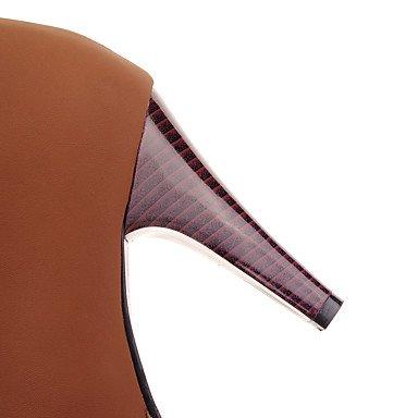 Da Innovativo Lacci scuro Stivaletti stiletto alla caviglia GLL dark amp;xuezi donna A Marrone Finta Beige pelle Inverno Comoda Tacchi Nero Primavera Casual brown XSpSg5wq