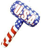 USA Patriotic American Flag Inflatable Toy Hammer Mallets - 1 Dozen (Inflatable Mallet)