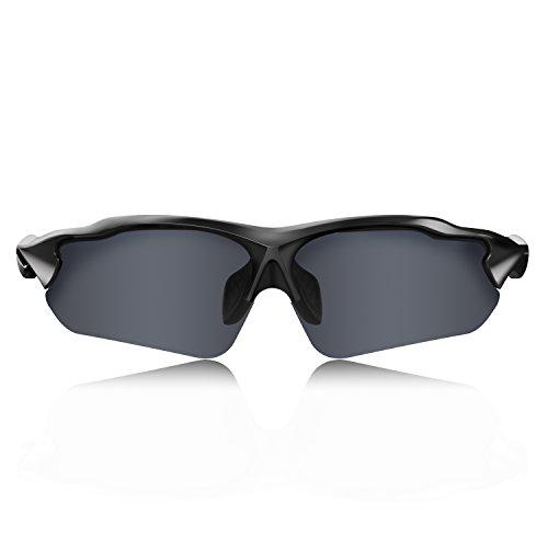 Hulislem Blade Ⅱ Sport Polarized Sunglasses-FDA Approved (MatteBlack-Sliver) Sunglasses for Men Women Mens Womens Sports