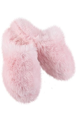 PajamaGram Fuzzy Slippers for Women - Washable Slip-Ons, Pink Slippers, 5/6