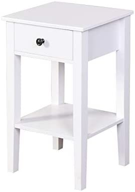 Wooden Living Room Furniture Floor-Standing Storage Table with a Drawer 16.3''L12.6''W25.6''H