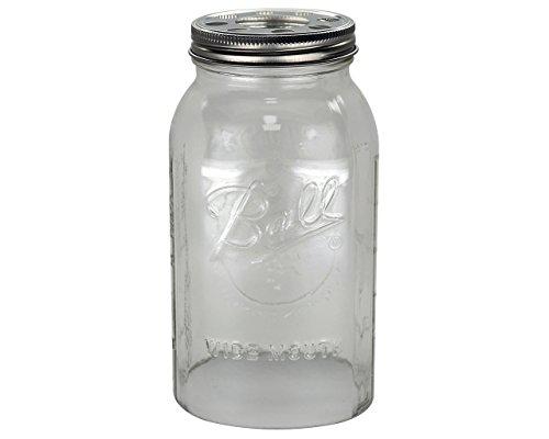 Open Bottom Mason Jar Glass Shade with 1-5/8-Inch Fitter Opening Lighting Lid (Half Gallon Ball Jar, Clear)