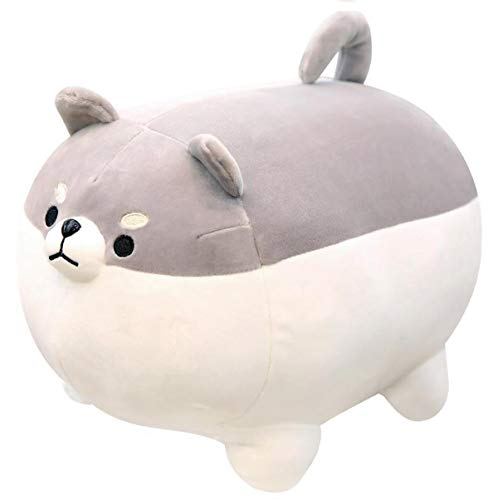Auspicious beginning Stuffed Animal Shiba Inu Plush Toy Anime Corgi Kawaii Plush Soft Pillow Doll Dog, Plush Toy Best Gifts for Girl Boy (Gray, 15.7