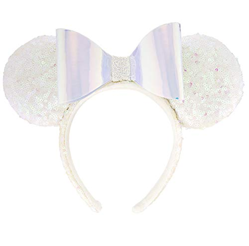 Disney Parks Minnie Mouse White Iridescent Sequin and Bow Ears Headband -