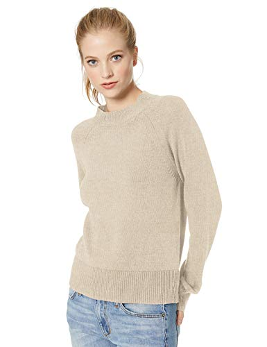 Amazon Brand – Daily Ritual Women's 100% Cotton Mock-Neck Sweater, Oatmeal Heather, Medium
