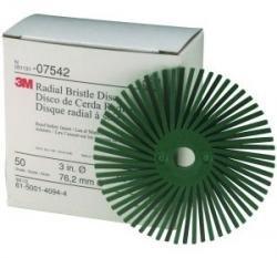 3M 7542 3'' Scotch-Brite Radial Bristle Discs, 50 Grade, Coarse, Green
