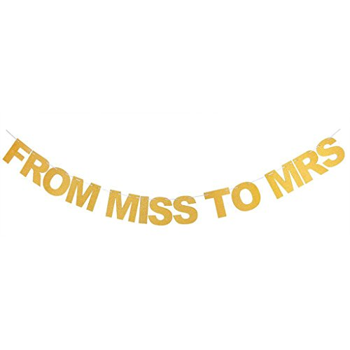TripodGo Gold From MISS TO MRS Glitter Banner for Prop Banner Bachelorette Parties Decorations (Plush Reception Chair)