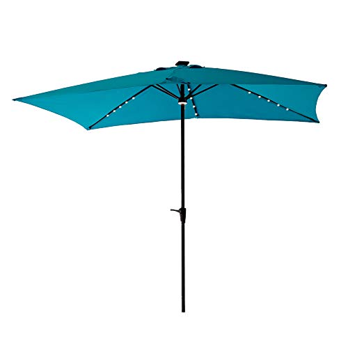 C-Hopetree Rectangular Solar LED Light Outdoor Patio Market Umbrella for Deck Rectangle Table 6'6