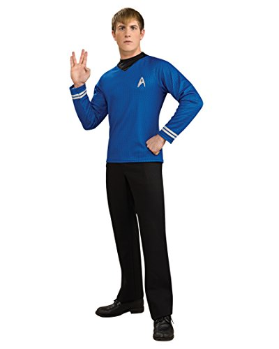 Deluxe Star Trek Shirt Mens Theatre Costumes Movie Spock Trekky Costume Blue Sizes: Large (Star Trek Movie Blue Shirt Adult Costume)