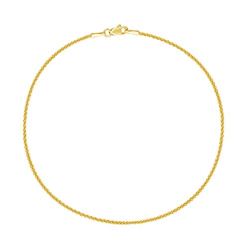 14k Real Yellow Gold Wheat Chain Anklet Lobster Lock Ankle Anklet 1.1mm 10 Inches -