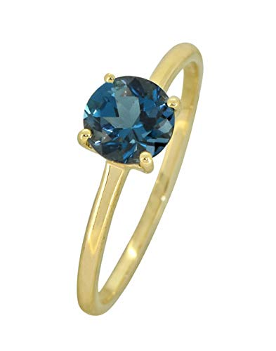 YoTreasure 1.10 Ct.Round London Blue Topaz Solid 10K Yellow Gold Solitaire Ring