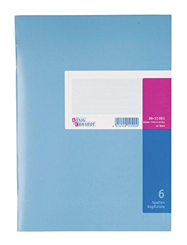 König & Ebhardt 8611061-7106K40KL Spaltenbuch mit Kopfleiste (A4, 6 Spalten, 40 Blatt)
