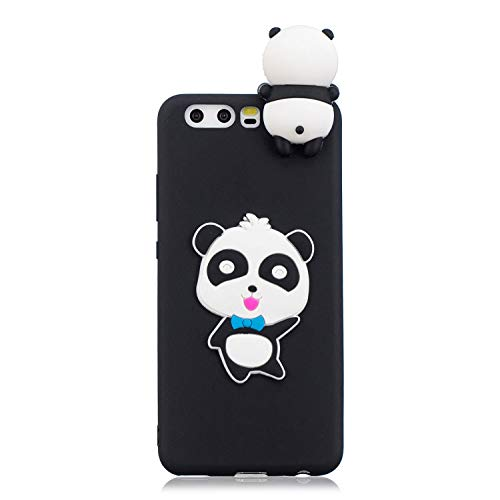 for Huawei P10 Silicone Case with Screen Protector,QFFUN 3D Cartoon [Panda] Pattern Design Soft Flexible Slim Fit Gel Rubber Cover,Shockproof Anti-Scratch Protective Case Bumper by QFFUN (Image #1)