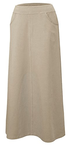 Baby'O Women's Stretch Cotton Knit Western Style Ankle Length A-Line Skirt, khaki, m