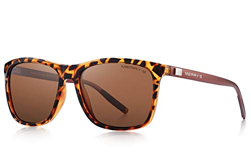MERRY'S Polarized Sunglasses for Women Aluminum Men's Sunglasses Driving Rectangular Sun Glasses for Men/Women (Leopard, ()
